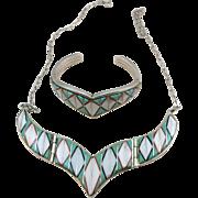 VINTAGE Estate Teme  Bracelet and Necklace Inlay Set  Highest Quality