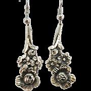 VINTAGE  Long Sterling Rose Cluster Earrings
