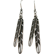 VINTAGE Sterling Dangle Feather Earrings