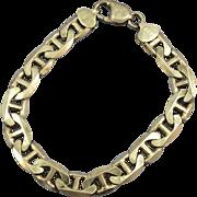 VINTAGE  Mens Heavy Sterling Anchor Chain Bracelet 8 Inch Length