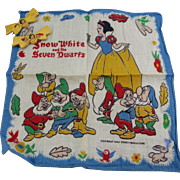 VINTAGE Walt Disney Snow White and the 7 Dwarfs Hankie and 2 Barrettes