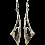 VINTAGE Sterling and Onyx Long Elegant Earrings