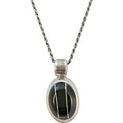 VINTAGE  Onyx and Sterling Heavy Pendant