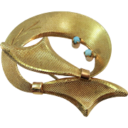 VINTAGE 14k Small Ribbon Brooch with 2 Turquoise Sets