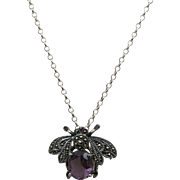 VINTAGE Crystal Bee with a Amethyst body and Marcasites  Sterling