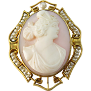 VINTAGE 10k Gold  Mounted Carved Angel Skin Cameo with Seed Pearls