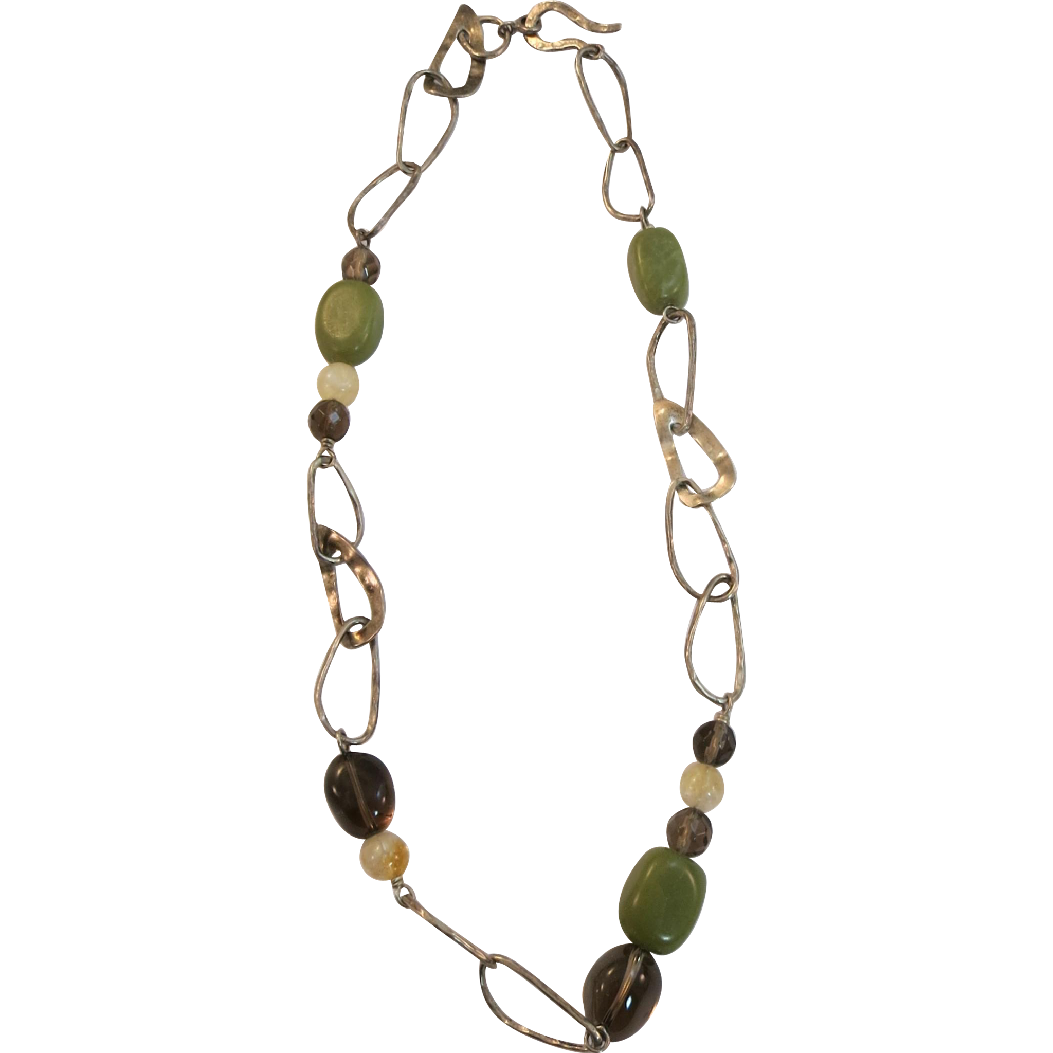 VINTAGE  Necklace with Hand-made Links and Gem Stones 925