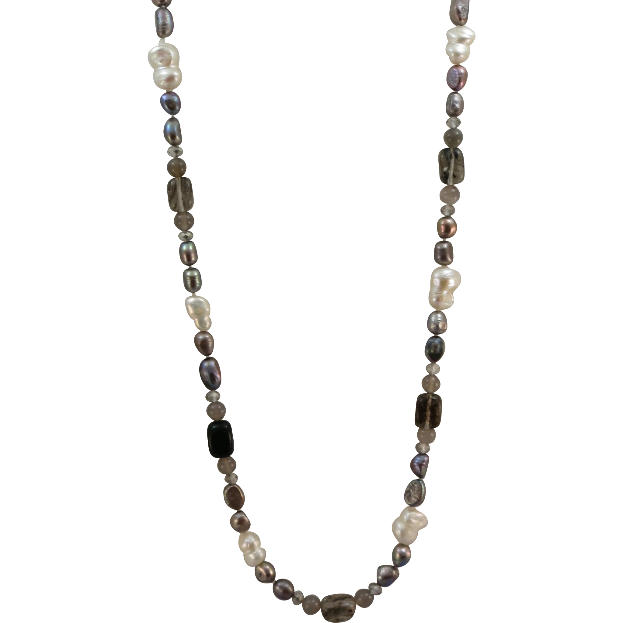 VINTAGE Endless String of Freshwater Pearls and Gem Stones 32 Inches