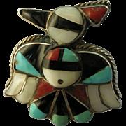 VINTAGE Sterling Zuni Thunderbird Ring  Size 5 3/4