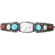 VINTAGE Navajo Made Sterling Watch Band   Turquoise, Coral, and Mother of Pearl