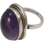 VINTAGE  Natural Amethyst Sterling Ring Perfect Middle finger Ring  Size 7 3/4