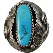 VINTAGE Native American Made Turquoise Ring   Size 10 3/4