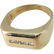 VINTAGE 14k Yellow Gold  Ring with 5 Diamonds  Size  Snug 10 1/2