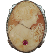 VINTAGE Extra Large Shell Cameo in Silver Frame with Simulated Ruby  Beautiful