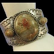 VINTAGE Fred Harvey Old Pawn Heavy Bracelet Agate Gem Stones