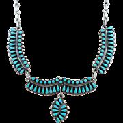 VINTAGE Zuni Made Beautiful Turquoise  Necklace Won Blue Ribbon at Gallup PowWow  Dainty