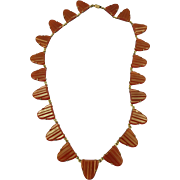 VINTAGE Art Deco Glass Czechoslovakia Necklace 16 1/2 Inch
