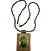 VINTAGE Copper and Turquoise and Brass Necklace  Hand-Made