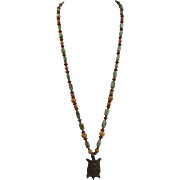VINTAGE Gem stones and Ceramic Bead Necklace from the Turtle Clan!!