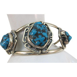 VINTAGE Sterling Three Turquoise Bracelet