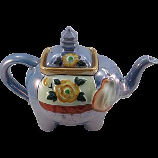 VINTAGE Blue Luster Elephant Tea Pot   Charming