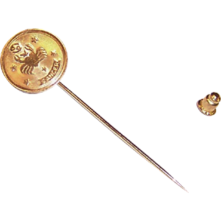 14K Gold Zodiac Cancer Crab Stick Pin