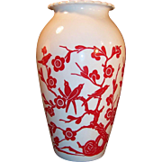 Anchor Hocking White Vitrock Hoover Vase Red Birds Oriental Garden