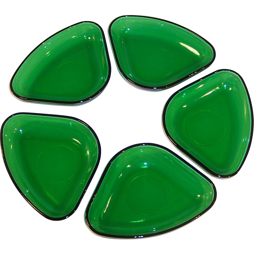 Set of Anchor Hocking Forest Green Relish Tray Inserts