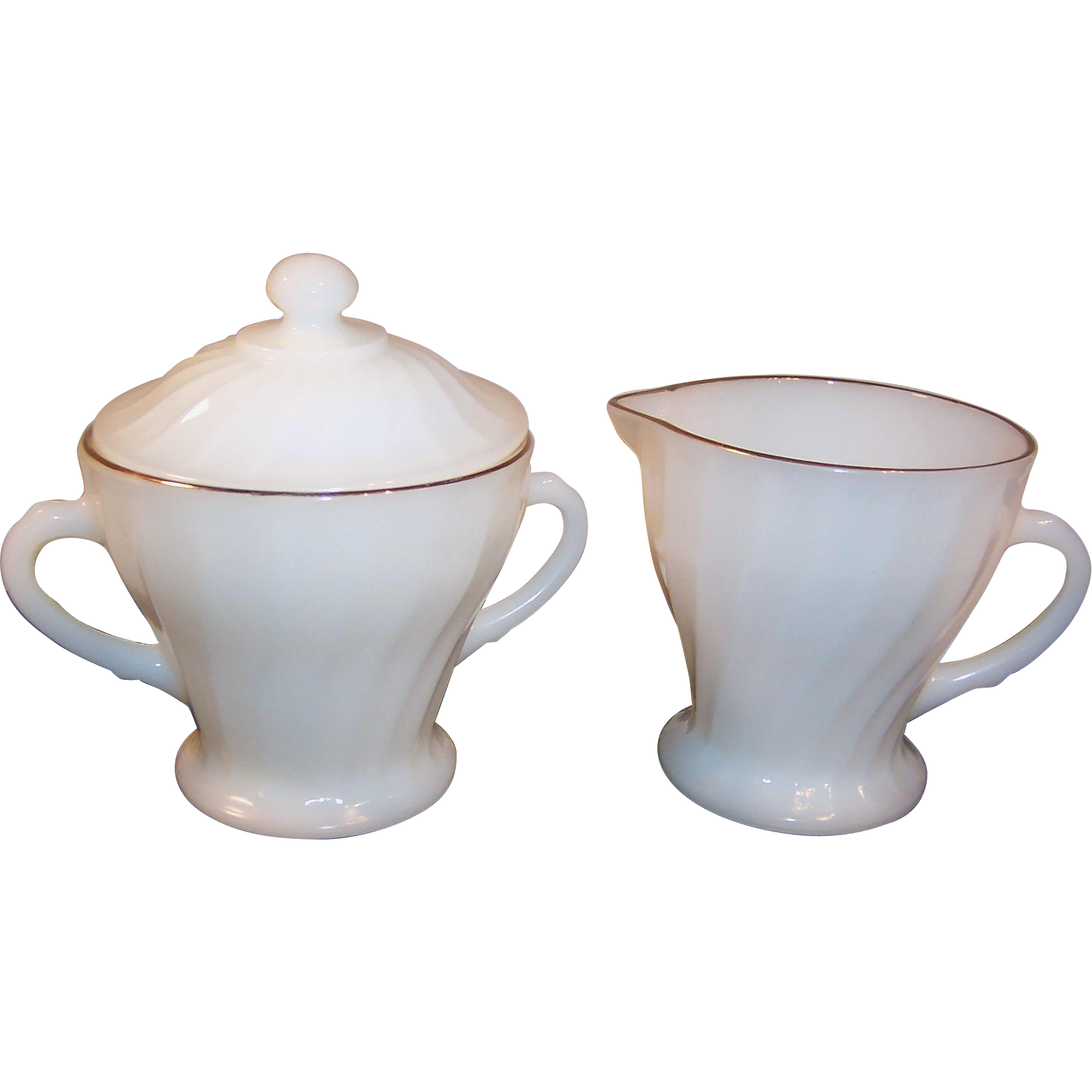 Anchor Hocking Fire King Golden Shell Creamer & Covered Sugar