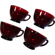Anchor Hocking Royal Ruby Red Cups; SET OF 4