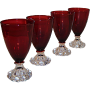 "SET OF 4:  Royal Ruby Boopie Bubble 4 1/2"" Stems"