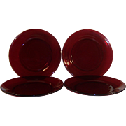 "SET OF 4:  Royal Ruby Salad / Luncheon Plates (7 5/8"")"