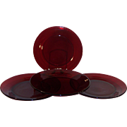 "(Set of 4): Royal Ruby 9"" Dinner Plates"