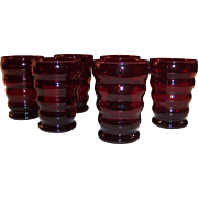 Set of 6: Whirly Twirly Royal Ruby 9 oz. Tumblers