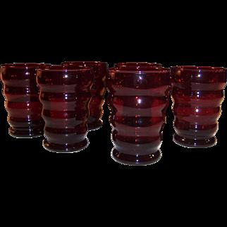 Set of 6: Whirly Twirly Royal Ruby 9 oz. Tumblers