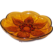 Vintage Anchor Hocking Renaissance Gold Amber Beaded Leaf Shallow Dish / Bowl