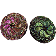 Two Iridescent Pinwheel Buttons (2)