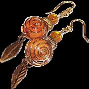 """""""Autumn Blaze"""" 14K Gold Plated Ear Wire OOAK Earrings"""