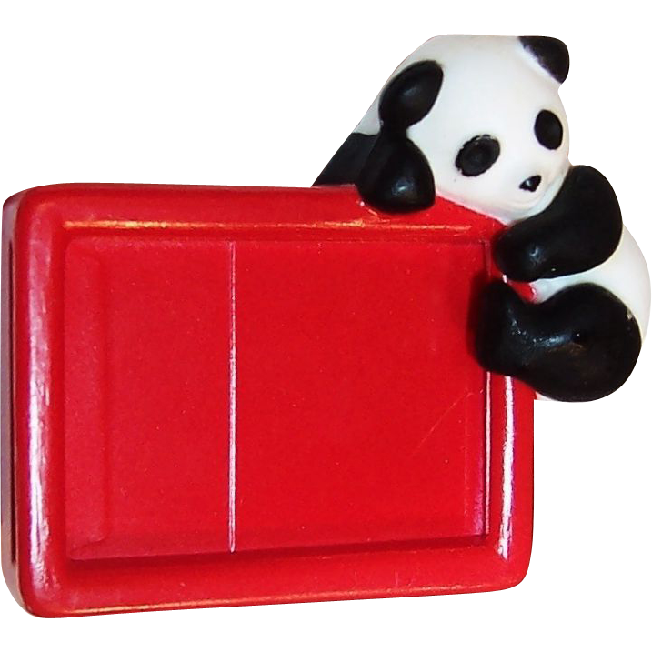Vintage Children's Panda  Message  Bear - er Pin