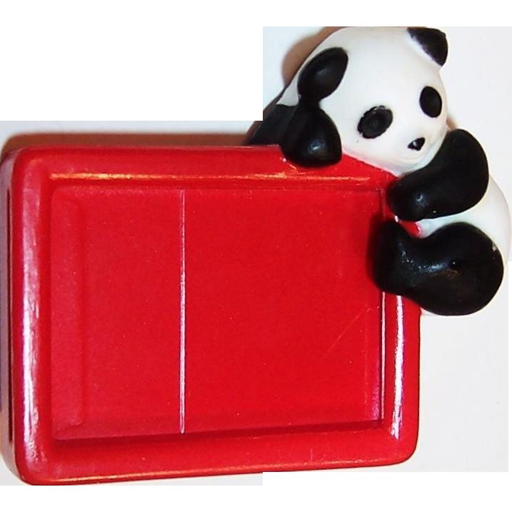 Vintage Children's Panda  Message  Bear - er Pin