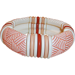 HOT Summer SALE!  Vintage Sirocco Stick Peach, Coral, Ivory Expandable Bracelet