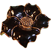 "2"" Black Glossy Enamel Flower Pin"