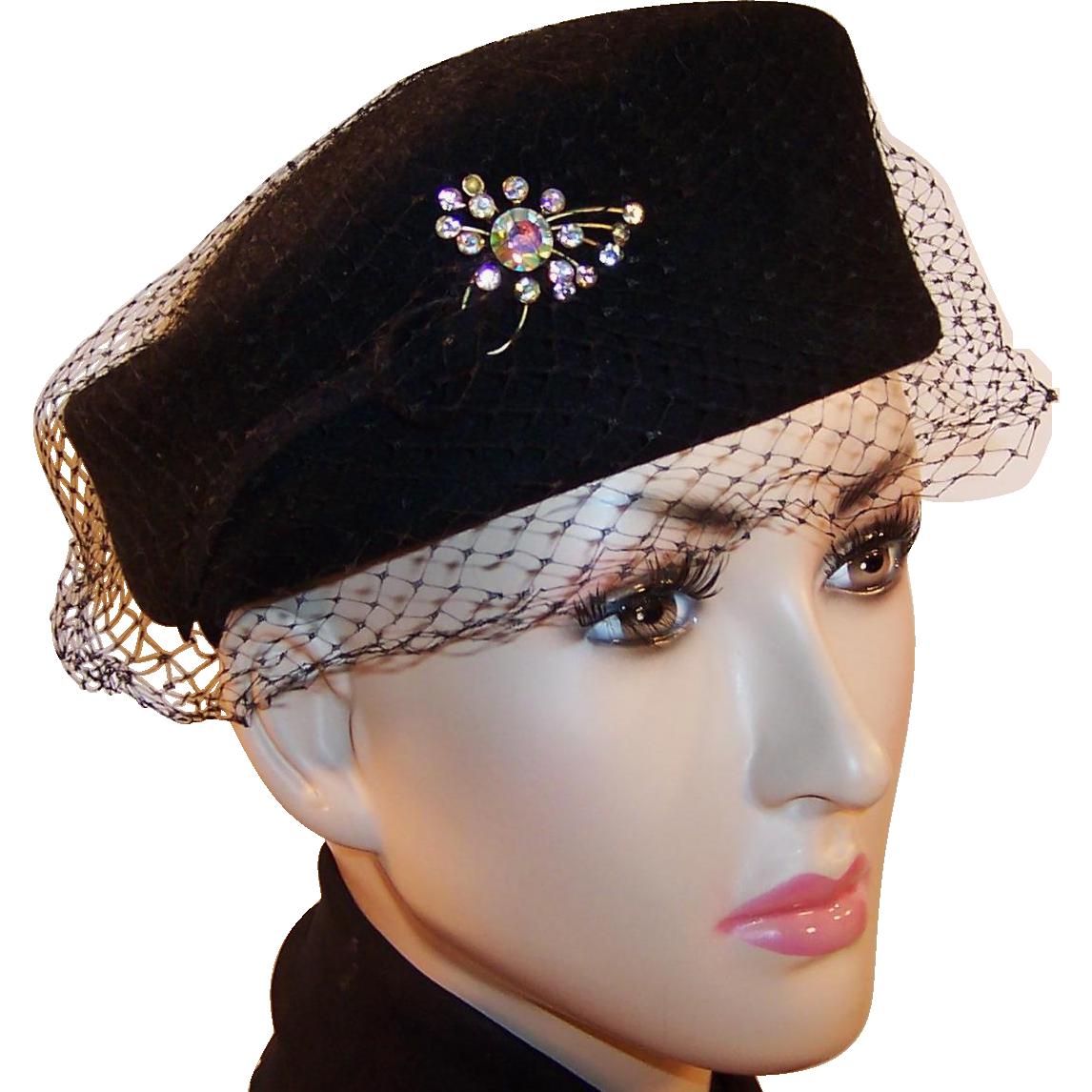 Vintage Mid-Century Black Wool Pillbox Henry Pollak Ritz Hat