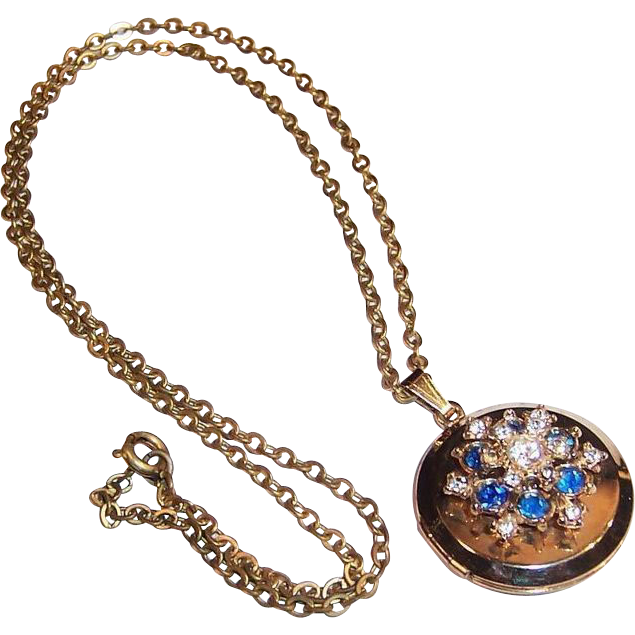 Sapphire Blue & Clear Rhinestones Double Locket Pendant