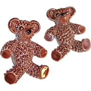 Vintage Brown Bear Enamel Scatter Pins