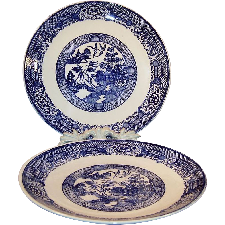 "Two  9 7/8"" Vintage Blue Willow Dinner Plates"