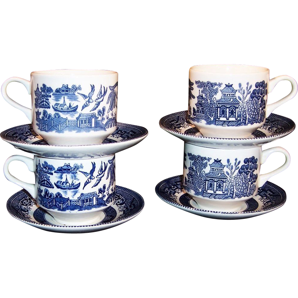 Set of 4: Churchill Blue Willow Flat Cups & Saucers