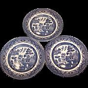 "SET of Three: Churchill Blue Willow 6 5/8"" Plates"