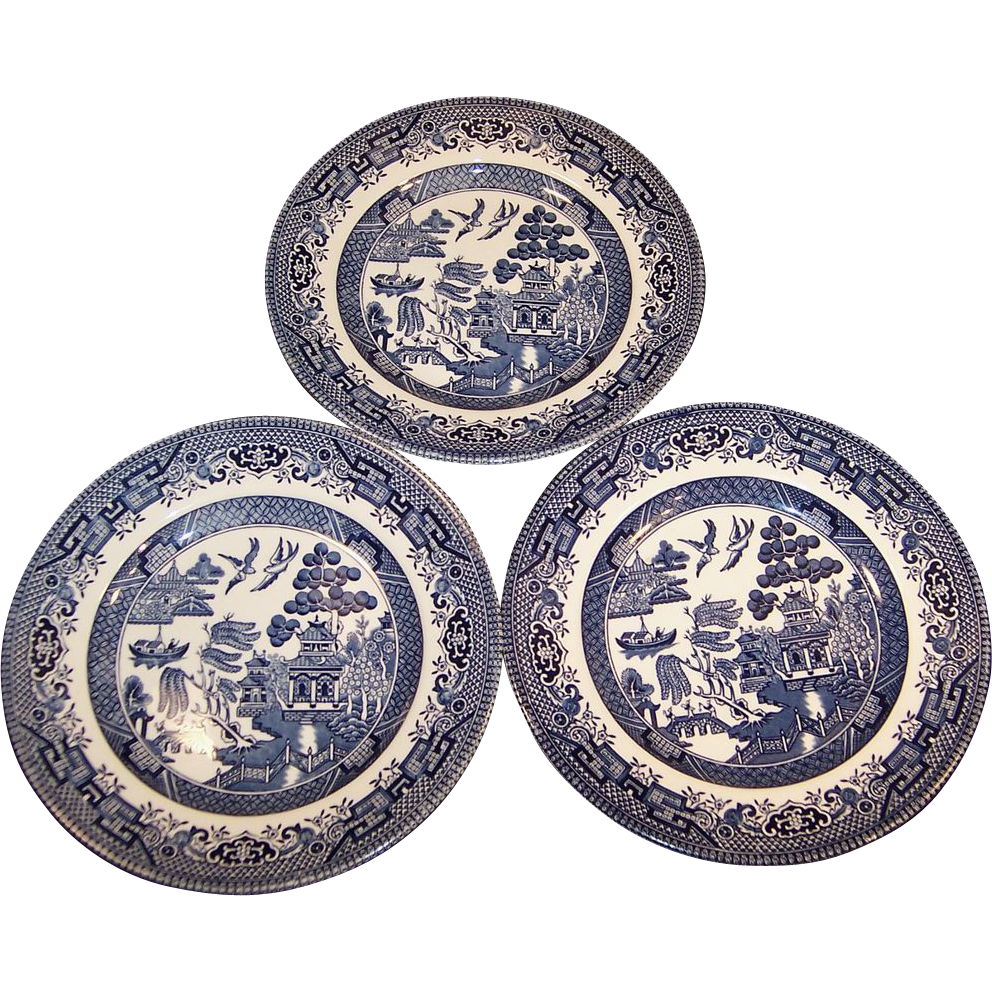 "SET of Three: Churchill Blue Willow 6 5/8"" Plates"