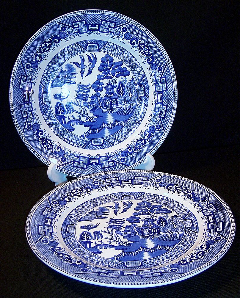 Old  W. Ridgway of England  Blue Willow Dinner Plate (only ONE available now)